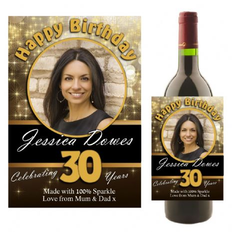 Personalised Black & Gold Happy Birthday Wine / Champagne Bottle PHOTO Label N9